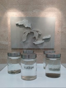 Porcelain, iron oxides, asemic writing, lidded jars with melted snow and ice from the 5 Great Lakes from the Winter of 2014